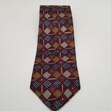 """Men's Robert Talbott Studio Red Gold 100% Silk  Neck tie Made in USA 58""""L 4""""W"""