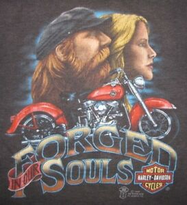 "RARE Vintage 1987 Harley Davidson ""Forged In Our Souls"" 3D Emblem T-SHIRT"