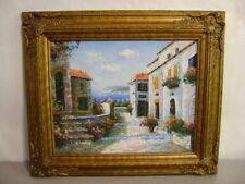 Wallis Vintage Oil Painting on Canvas Signed Seaside w/ Beautiful Frame