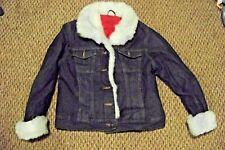 juniors/womens arizona blue faux fur trimmed dark wash denim jeans coat size xl