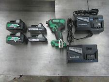 Hitachi Metabo HPT 18V Brushless Impact Driver WH18DBFL2 w/4 Batteries