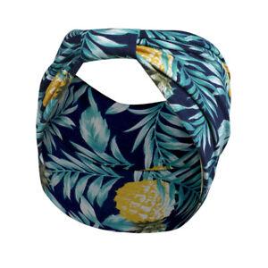 Fascia larga per capelli elastica donna nodo elegante floreale blu ananas