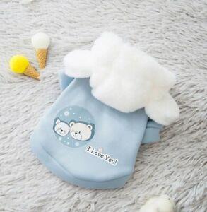 Cute BLUE cartoon Hoodie Pet Cat Dog Clothes Pet Equipment Comfortable...