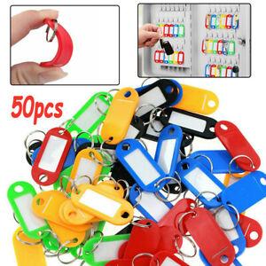50PCS Key Tags Labels Luggage Fobs ID Card Name Keychain W/ Split Ring Plastic
