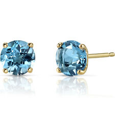 14K 14ct Yellow Gold 1.70 Ct Swiss Blue Topaz Stud Earrings Round 6mm