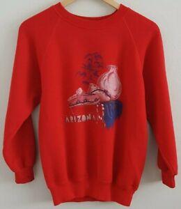Vintage Hanes Arizona Souvenir Sweatshirt Medium Red Cotton Acrylic Made in USA