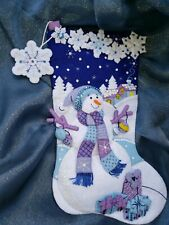 **FINISHED** Bucilla Felt Stocking Frosty Night 18in  diagonal.