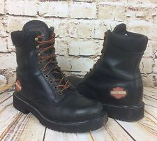 WOMENS HARLEY DAVIDSON LACED BIKER BOOTS STEEL TOE CAPPED BLACK SIZE UK 4
