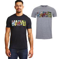 Marvel Mens - Comics Logo - T-Shirt - Black / Grey