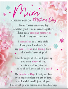 Grave side Memorial Cards MUM MISSING YOU ON MOTHERS DAY **NEXT DAY DELIVERY**