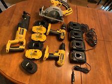 1 Owner Dewalt 18v tool lot: 2 Drills, Skill + Sawsall, 6 Batteries + 4 Chargers