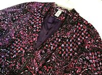Maggie Barnes for Catherines Jacket 2X (22-24) Paisley Purple Zip Front Womens