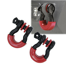 "A Pair 3/4"" Black 4.75 ton D-ring Shackle & RED Isolator Washers Silencer Clevis"