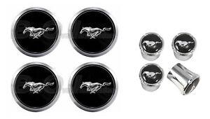 2005-14 Mustang Chrome Running Horse Wheel Center Caps w/ Chrome Valve Stem Caps