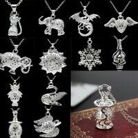 92Silver Filled Flower Elephant Heart Dolphin Crystal Pendants Vintage Jewelry #