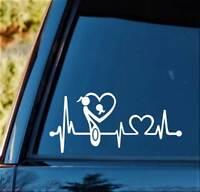 Animal Lover Lifeline K264 8 Inch Cat Horse Dog heartbeat sticker decal