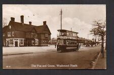 More details for postcard -  birmingham  fox & goose washwood heath pub  & tram  real photo