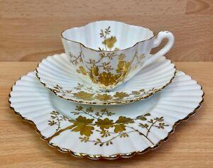 "Wileman Alexandra Shape ""Aster Sprays"" Pattern 3981 Tea Cup Trio."