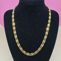 Vintage Gold Tone Snail Chain Link Necklace Chic Scroll Chain Jewelry Gold Plate