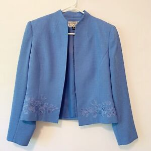 Kasper Womens Blue Long Sleeve Embroidered Open Front Jacket Size 8 Petite