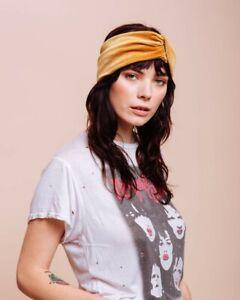 New 70's Style Mustard Yellow Velvet Boho Headband