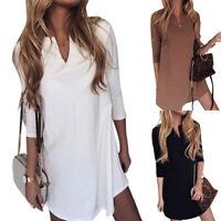 Women Long Sleeve Solid Tunic Tops T Shirt Summer Beach Party Short Mini Dress