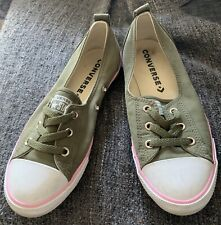 Size 5 Khaki Green Slip On 6 Hole Converse Trainers Used Great Condition
