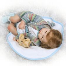 "Soft Vinyl Silicone Newborn Lifelike Baby Boy Doll with bear 20"" Reborn Handmade"