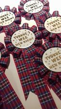 Rosettes Personalised 10 per pack tartan BIRTHDAY / PARTY / Hen Night