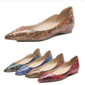 Womens Ballet Flats Patent Leather Pointed Toe Slip On Floral Pattern Flat Shoes