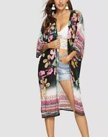Floral Women's Kimono Swim Cover Up NWT Small Black Pink