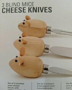 Kikkerland Cheese Knives 3 Blind Mice NIB New Spreaders Fork Stainless Steel
