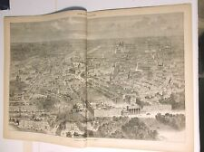 1871 Wood engraving BIRD'S EYE VIEW OF THE CITY OF BERLIN  Every Saturday