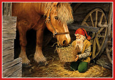 Scandinavian Swedish Christmas Poster Print Tomte Feeds Horse Bergerlind BO233