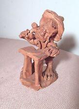 vintage handmade sculpted terracotta pottery figural blacksmith sculpture statue