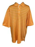 Adidas Short Sleeve Golf Polo Shirt Mens Size Large Orange Striped Climacool