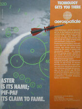 12/1990 PUB AEROSPATIALE ASTER SURFACE TO AIR MISSILE PIF PAF ORIGINAL AD
