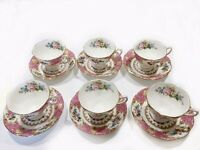 Royal Albert Lady Carlyle bone china tea cups & saucers, set of 6