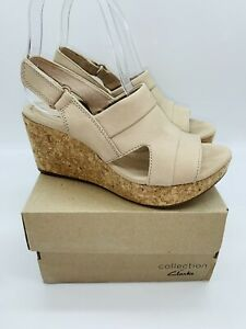 Clarks Women's Annadel Ivory Adjustable Wedge Sandals Sand Nubuck , choose size