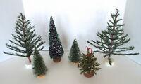 Christmas Village Trees Bottle Brush Pine Evergreens 6 Piece Estate Lot Dept 56