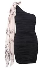 TOPSHOP one shoulder drape scarf detail dress by Rare UK 14 in Black - New