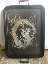 Antique Oriental Dragon Silk Embroidery In Victorian Glass Serving Tray Decor