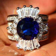 Gorgeous Jewelry 925 Silver Blue Sapphire Ring Wedding Anniversary Fashion SZ:7