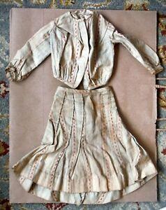Antique Vintage Lady Doll Complete Dress Victorian Top & Skirt P825