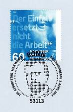 Germany 2014: Max Weber No. 3071 with clean Bonn first-day-special stamp! 1a!