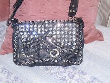 Leather Bling Rhinestones western look Handbag NEW MUST L@@K