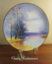 Noritake Japan Swan in a Lake Landscape Scene Hand Painted Plaque