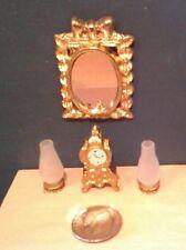 Dollhouse Miniature 2 non electric Oil lamps, Ornate Clock & Mirror 1:12 scale