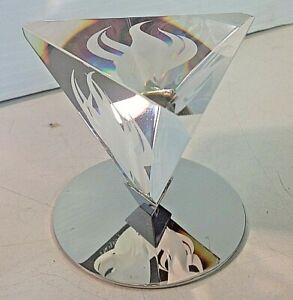 Vintage 1980 Olympic Torch Flame Steuben Glass Crystal Tetrahedron Paperweight