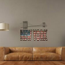 NEW YORK WORDS Wall Decals FLAG BRIDGE Room Decor Stickers QUOTE Decorations USA